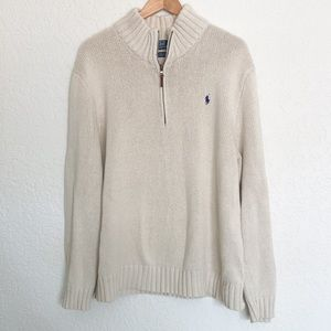 Polo Ralph Lauren cream knit zipper pullover